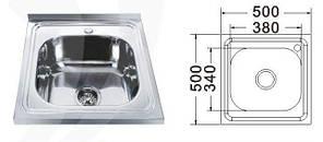 MR 5050 Мийка прямокутна накладна 500х500х180 Decor, фото 2