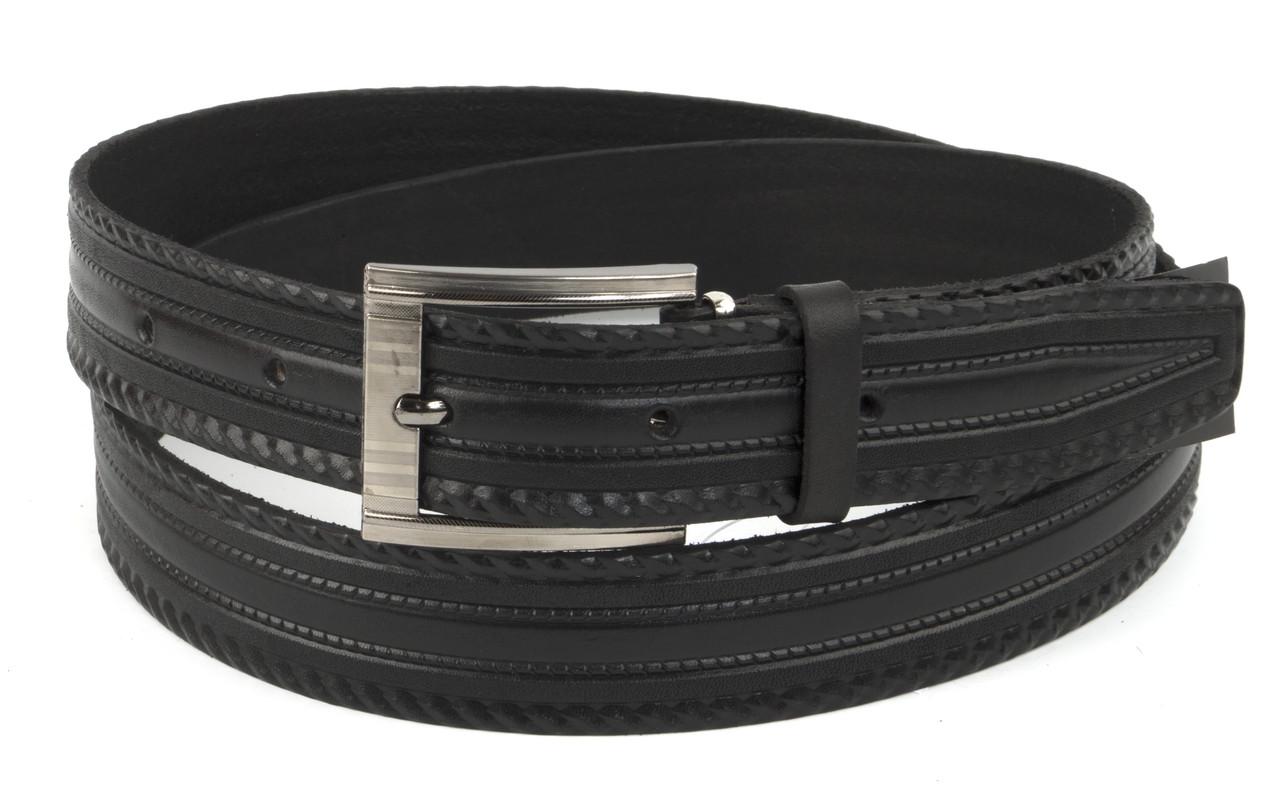 Прочный мужской кожаный качественный ремень 3,5 см черный (73632) Украина