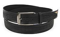 Прочный мужской кожаный качественный ремень 3,5 см черный (73634) Украина