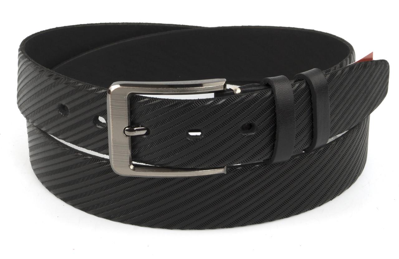 Прочный мужской кожаный качественный ремень 3,5 см черный (73631) Украина