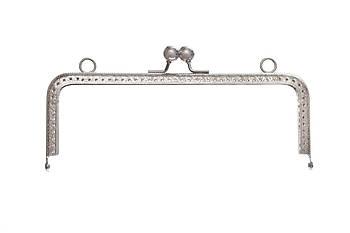 Фермуар прямоугольный, с тиснением и двумя зажимами, 18 см Серебро