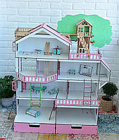 Кукольный домик NestWood Дом приключений для кукол ЛОЛ + мебель 9 шт Белый с розовым (kdl005r)