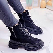ТОЛЬКО 39 р 24,5 см! Женские ботинки ЗИМА черные сбоку молния эко замш