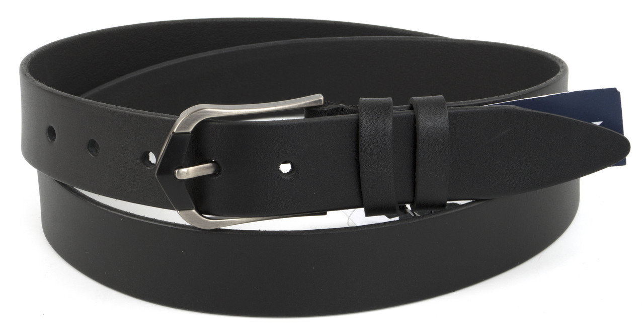 Прочный женский стильный кожаный ремень с классической пряжкой 3,5 см черный  (73790)