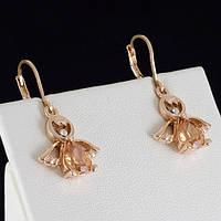 Отличные серьги с кристаллами Swarovski, покрытые золотом 0014