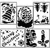 Новогодние трафареты для окон и витрин большой (набор из 8шт.)