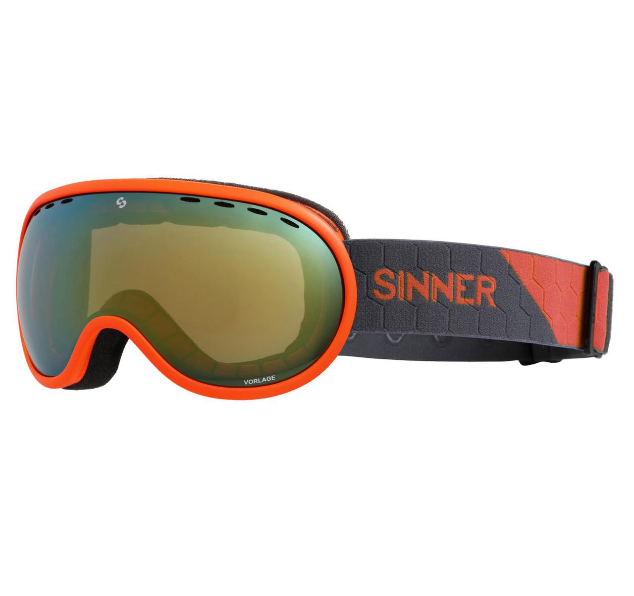 Маска гірськолижна Sinner VORLAGE Matte Orange-Full Orange Mir