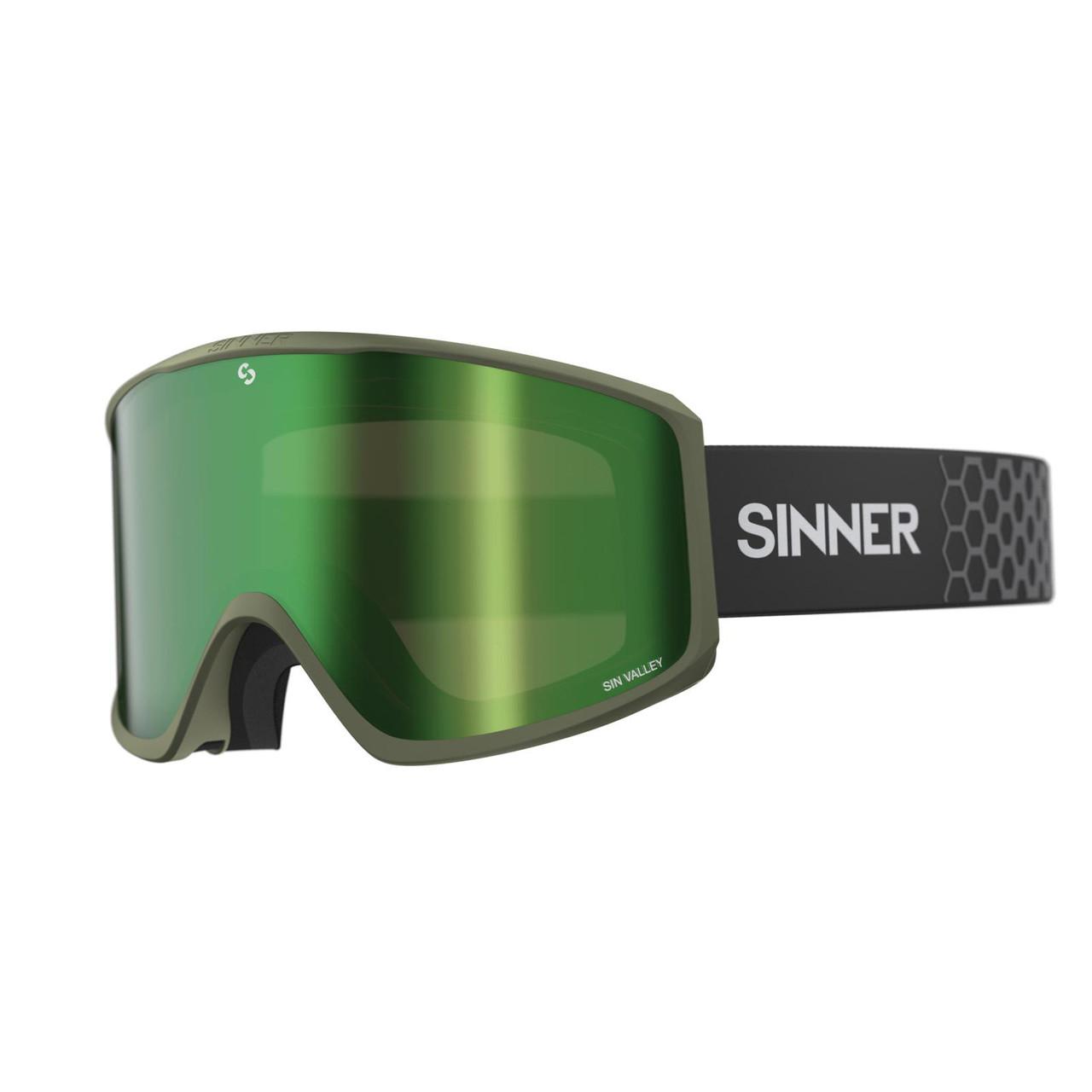 Маска гірськолижна Sinner Sin Valley Matte Moss Green-Green Mir + Orange
