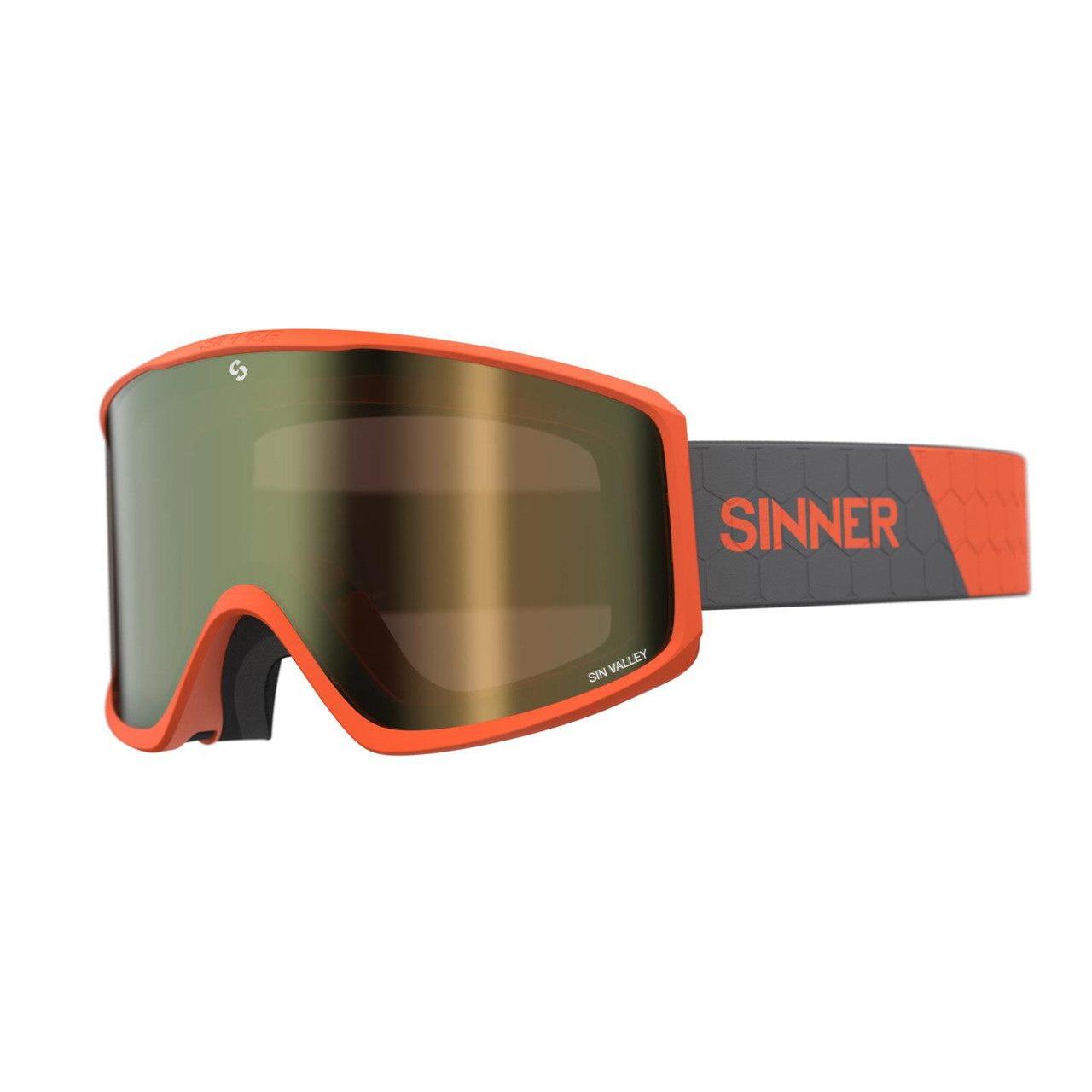Маска гірськолижна Sinner Sin Valley+ Orange-Gold Mir + Orange Sintec