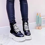 Женские ботинки ЗИМА черные с белым эко кожа на платформе 6 см, фото 4