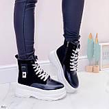 Женские ботинки ЗИМА черные с белым эко кожа на платформе 6 см, фото 2