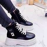 Женские ботинки ЗИМА черные с белым эко кожа на платформе 6 см, фото 9