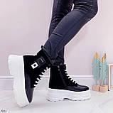 Женские ботинки ЗИМА черные с белым эко кожа на платформе 6 см, фото 8