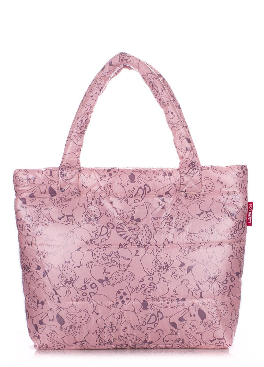 Дутая сумка POOLPARTY с принтом pp4-cats-rose