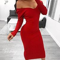 Женское элегантное облегающее платье из трикотажа рубчик в расцветках (Норма), фото 6