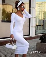 Женское элегантное облегающее платье из трикотажа рубчик в расцветках (Норма), фото 9