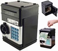"""Электронная копилка Сейф банкомат Number Bank, с кодовым замком и купюроприемником """"класическая"""" чёрная"""