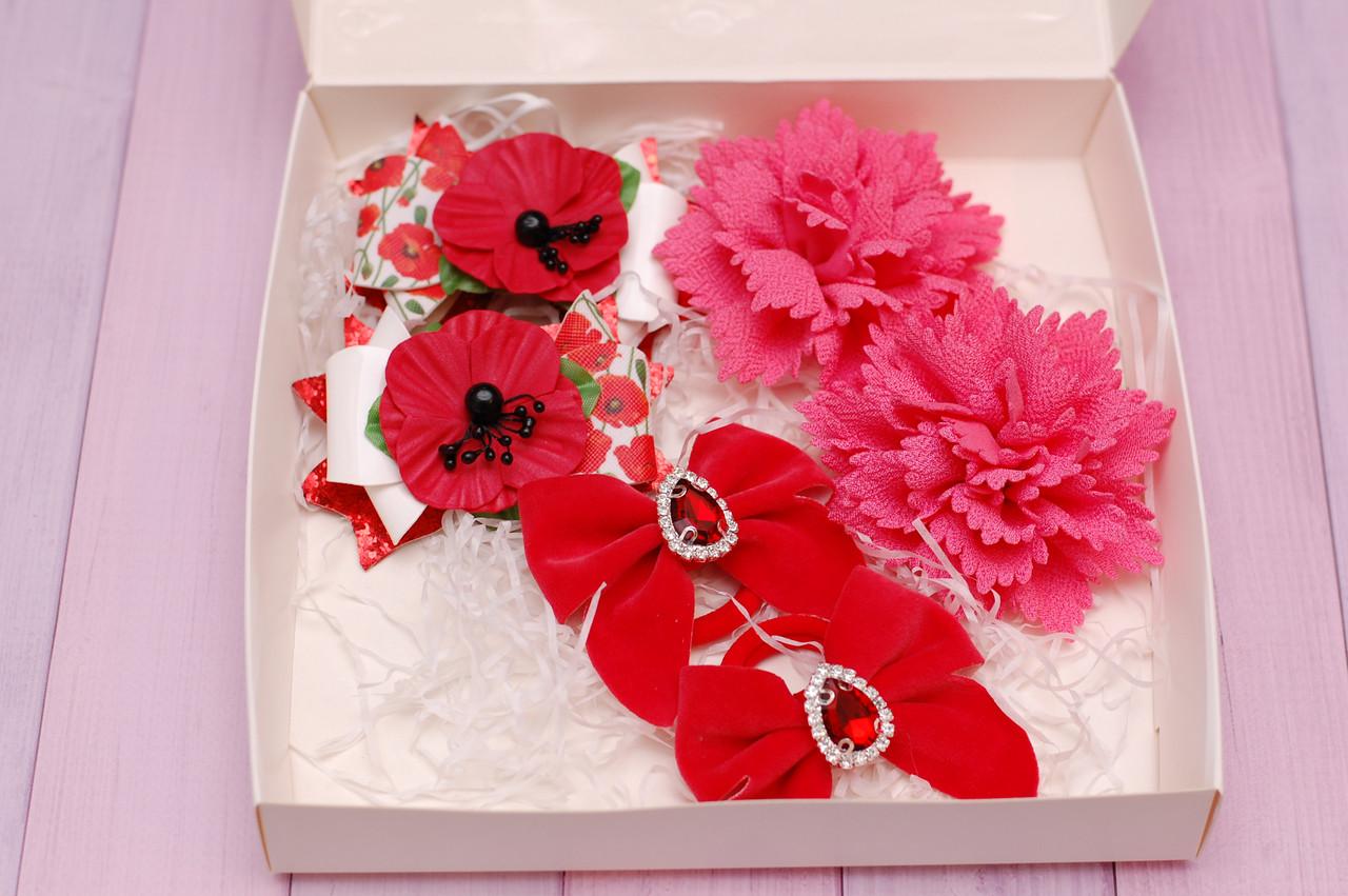 Набор резинок в подарочной упаковке красно-коралловый 329 Об