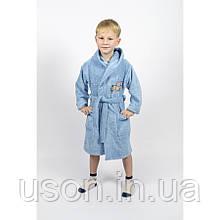Халат детский махровый с капюшоном  Тм Lotus Турция Сar  голубой