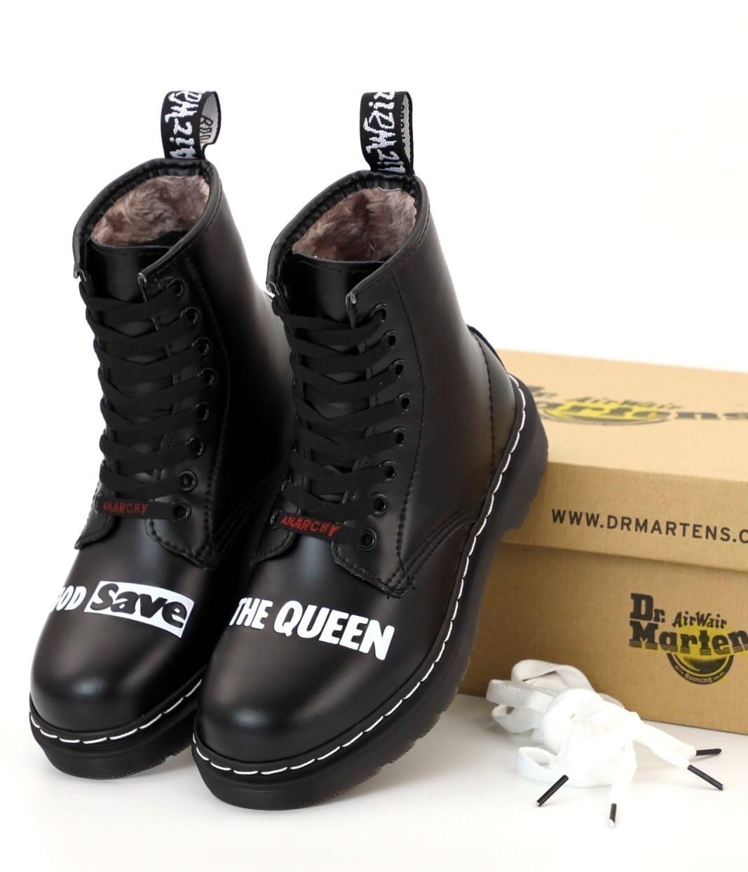 """Мужские ботинки Sex Pistols & Dr. Martens """"God Save the Queen"""" Доктор Мартинс высокие на шнуровке с мехом"""