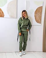 Утепленный женский спортивный костюм с укороченной кофтой батал, фото 1
