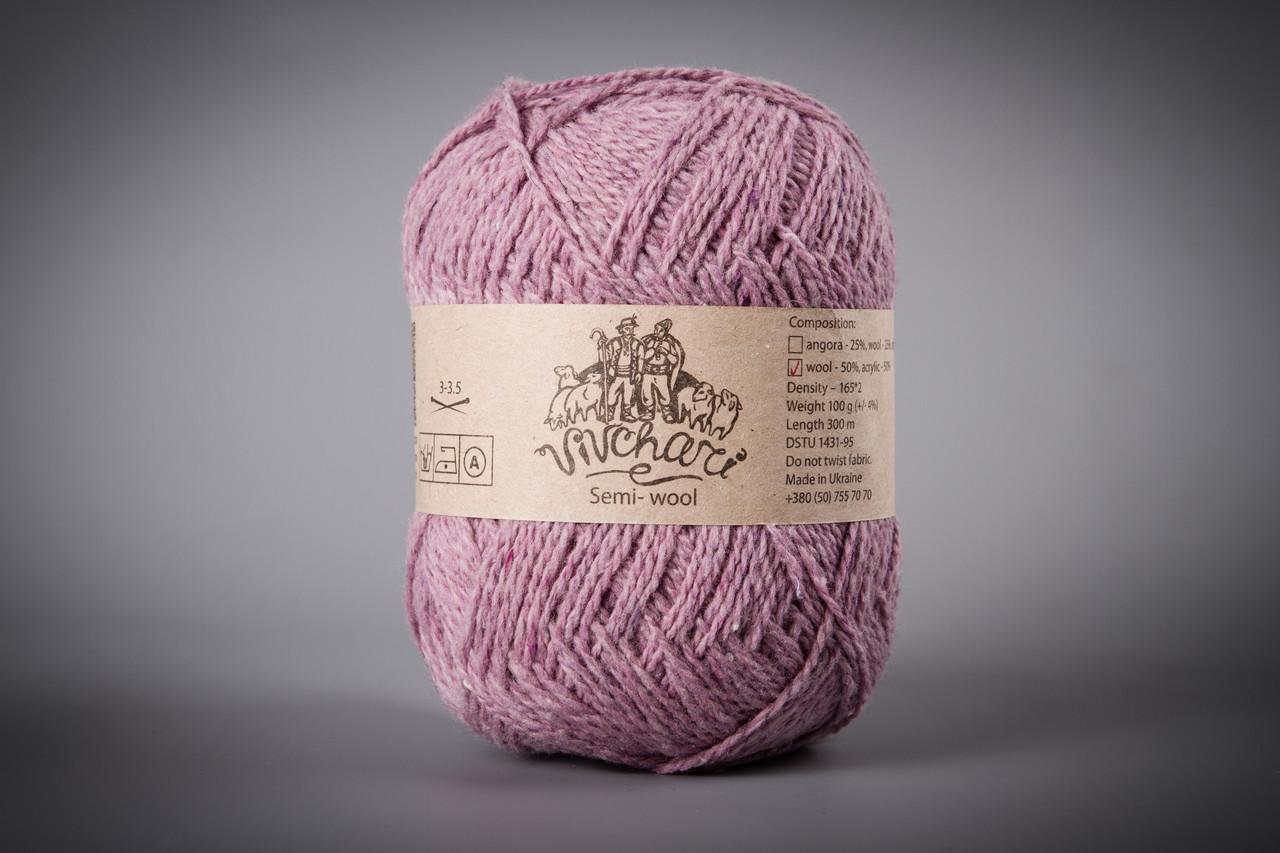 Пряжа полушерстяная Vivchari Semi-Wool, Color No.401 сиреневый