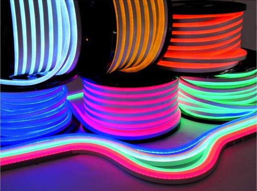 LED гибкий неон flex 220V 50 м голубой лед, лимонно-желтый, оранжевый, розовый серия ECO+