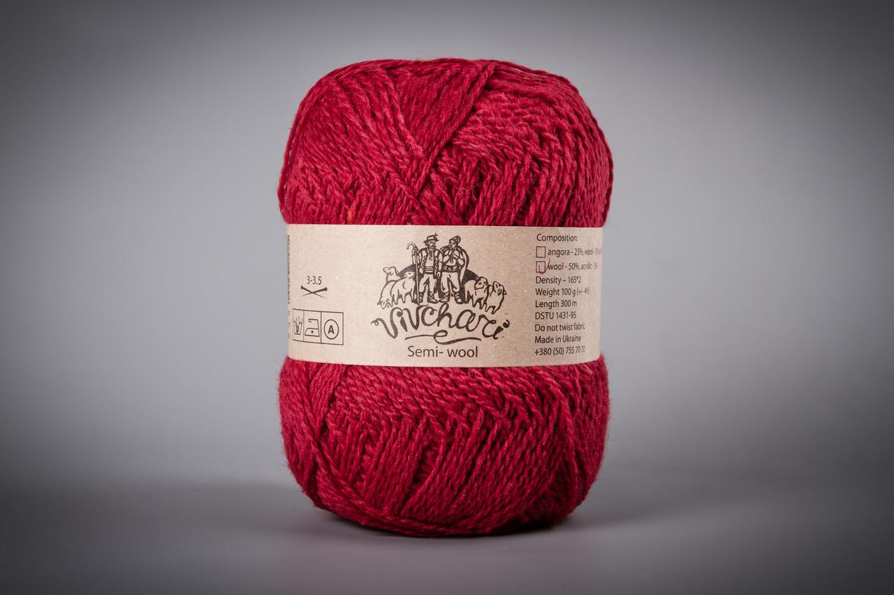 Пряжа полушерстяная Vivchari Semi-Wool, Color No.403 красный