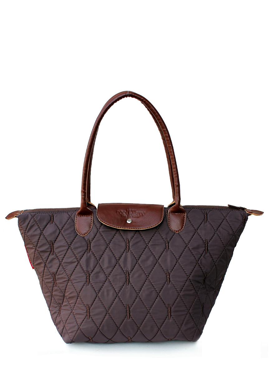 Стеганая сумка с клапаном POOLPARTY pool80-brown-diamond