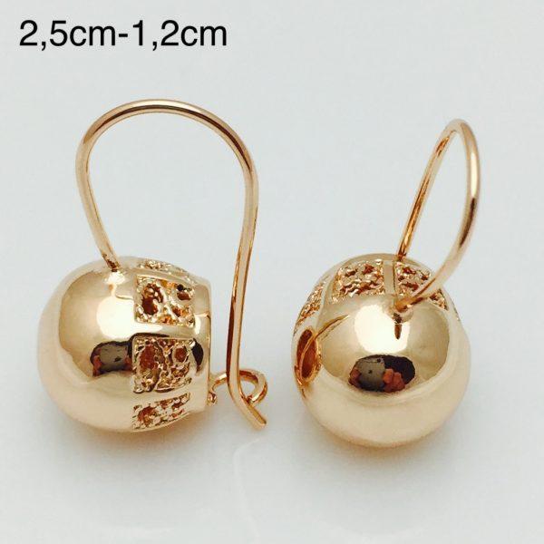 Серьги Fallon длина 2.5см шарик 12мм медицинское золото  F1065