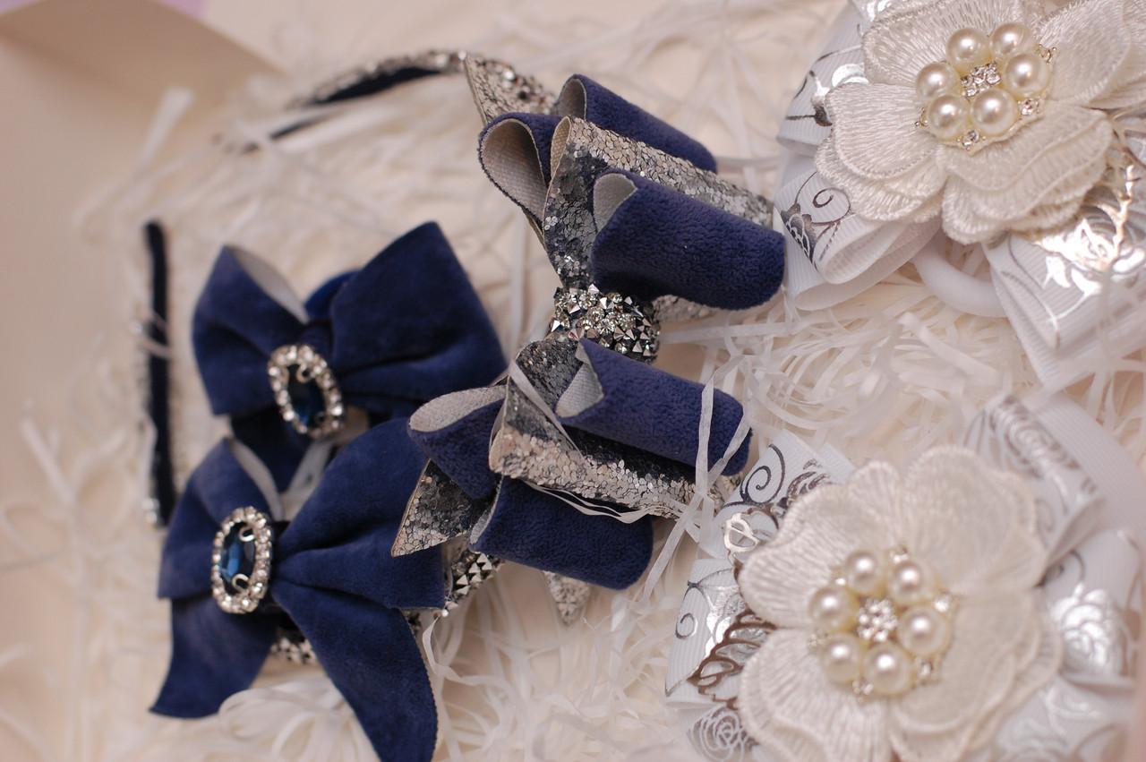 Набор украшений белый с темно-синим 333 Об