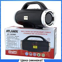 Портативная колонка Atlanfa 1829BT - беспроводная колонка с радио, USB, SD, Bluetooth, дисплеем, сабвуфером, фото 3