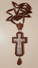 Нагородний хрест, червоне дерево, сріблення 190х70мм (КР) №8