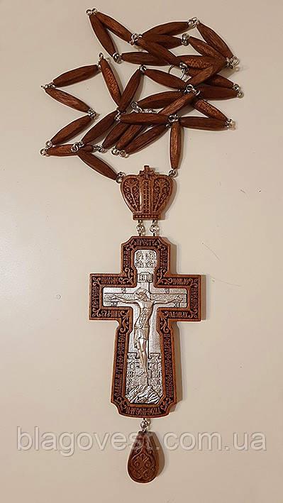 Крест наградной, красное дерево, серебрение 190х70мм (КР) №8