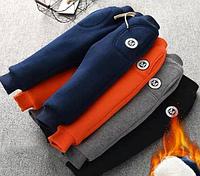 Теплі спортивні штани для хлопчиків / Детские теплые плотные штаны на весну-осень-зиму РОЗМІР 110 ОРАНЖЕВІ