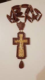 Хрест наперстный иерейский, червоне дерево, позолота 120х70мм (КР) №8