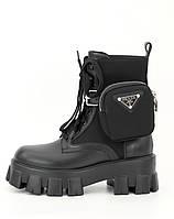 Женские ботинки Prada Monolith, Прада Монолит Демисезон высокие на шнуровке