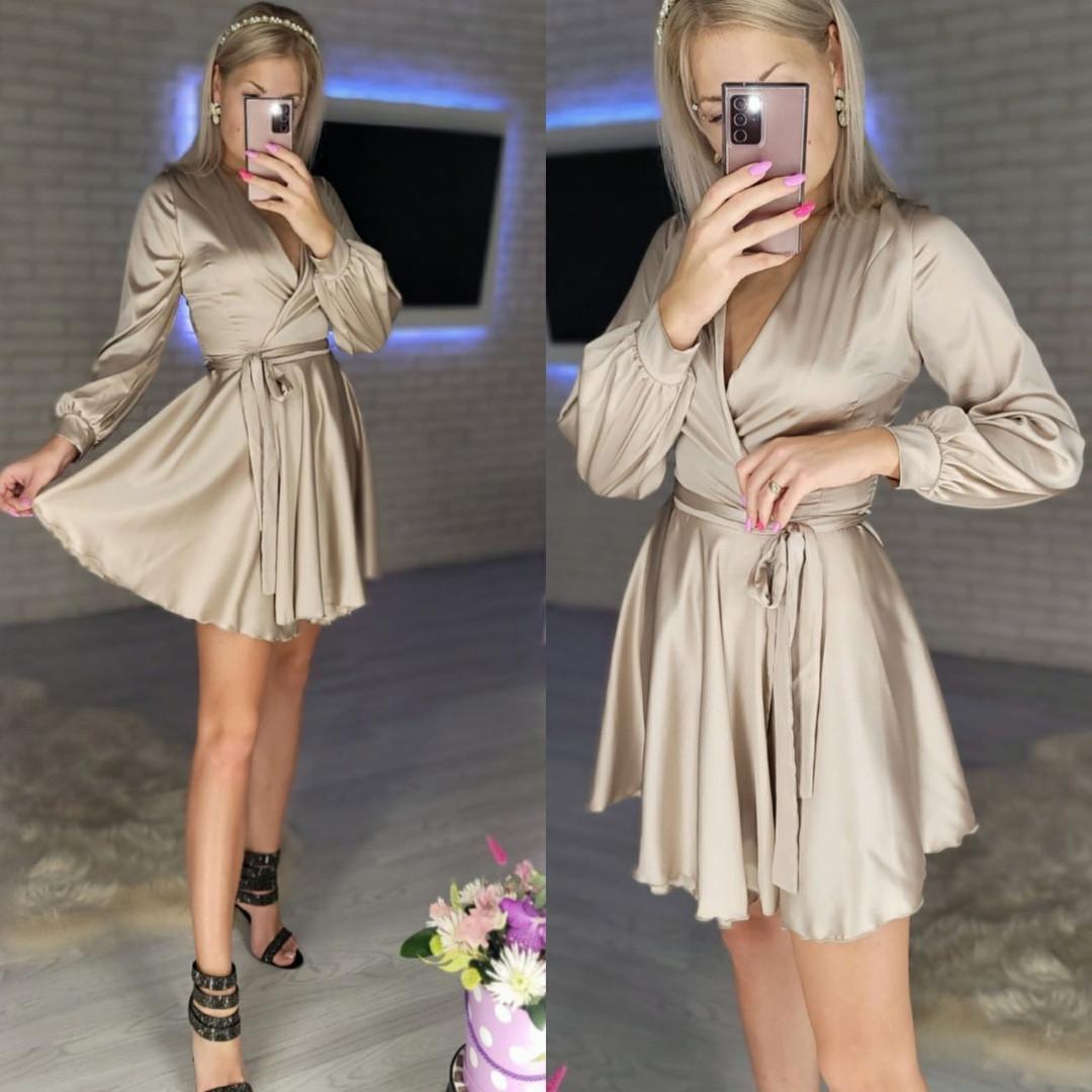 Женское нежное платье из шелка с имитацией на запах (Норма)