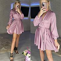 Женское нежное платье из шелка с имитацией на запах (Норма), фото 7
