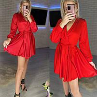Женское нежное платье из шелка с имитацией на запах (Норма), фото 8