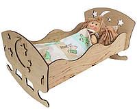 Кровать фанерная для куклы-пупса дерево 25 * 45 * 35см 172311