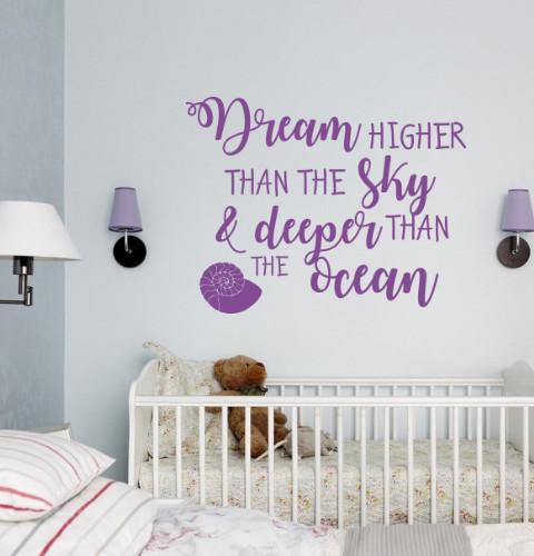 Вінілова наклейка Dream higher (мрії текстові наклейки мотиватори декор дитячої) матова 520х400 мм