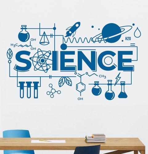 Вінілова наклейка Science (наклейки на стіни для школи мотиватор текст хмара тегів) матова 1000х580 мм