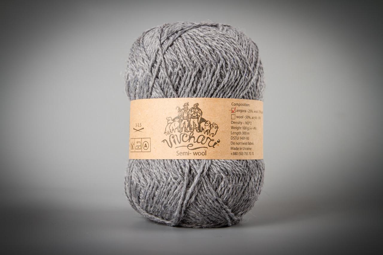 Пряжа с ангорой Vivchari Semi-Wool Angora, Color No.305 серый натуральный