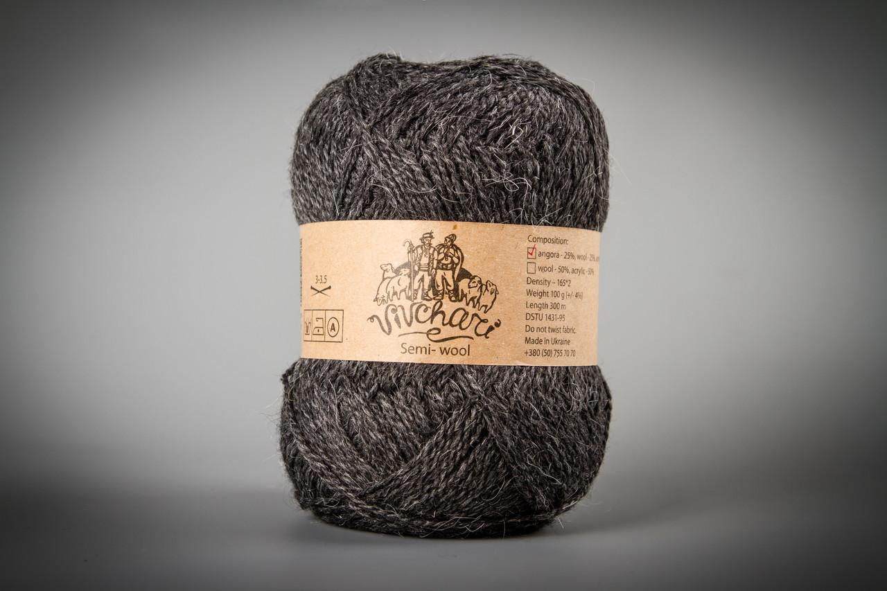 Пряжа с ангорой Vivchari Semi-Wool Angora, Color No.306 антрацит