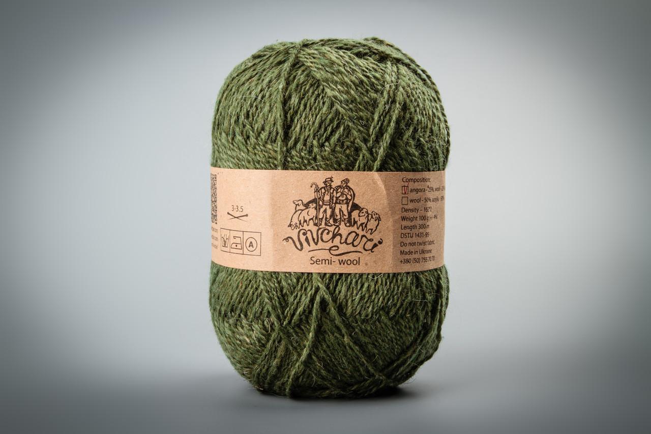 Пряжа с ангорой Vivchari Semi-Wool Angora, Color No.307 оливковый
