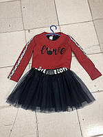 Детское платье-двойка с фатиновой юбкой+пояс для девочки 7-11 лет,черное с бордо, фото 1