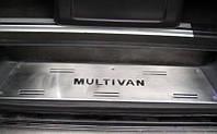 Volkswagen T5 Multivan 2003-2010 гг. Накладки на внутренние пороги (нерж) 3 двери, OmsaLine - Итальянская, фото 1