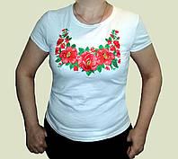 """Вишиванка з білого стрейч-куліру, жіноча футболка """"Троянди розмір S-3XL"""