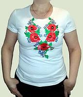"""Вишиванка з білого стрейч-куліру, жіноча футболка """" Макі Нарцис розмір S-3XL"""